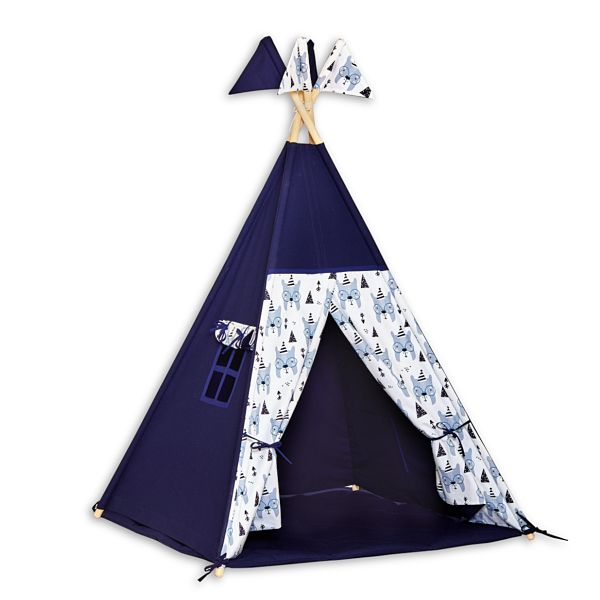 Teepee Tent + Floor Mat - Bear Face