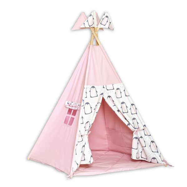 Teepee Tent + Floor Mat - Lovely Penguin