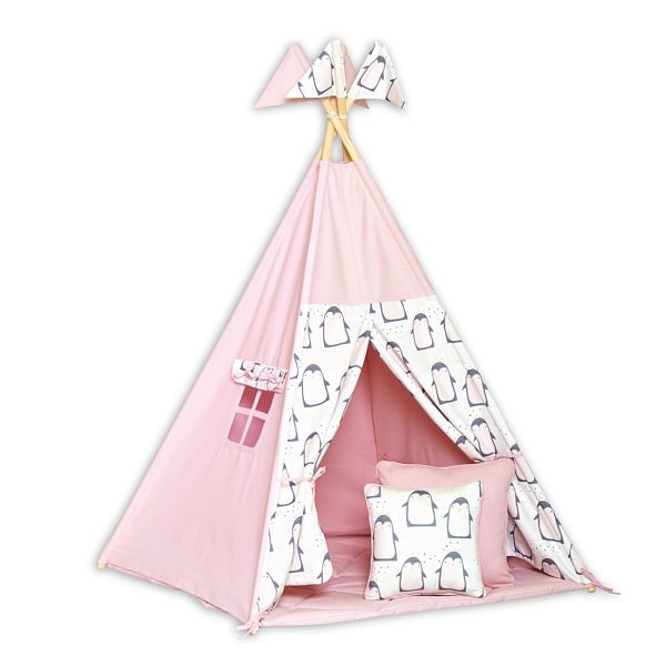 Teepee Tent + Floor Mat + Pillows - Lovely Pinguin