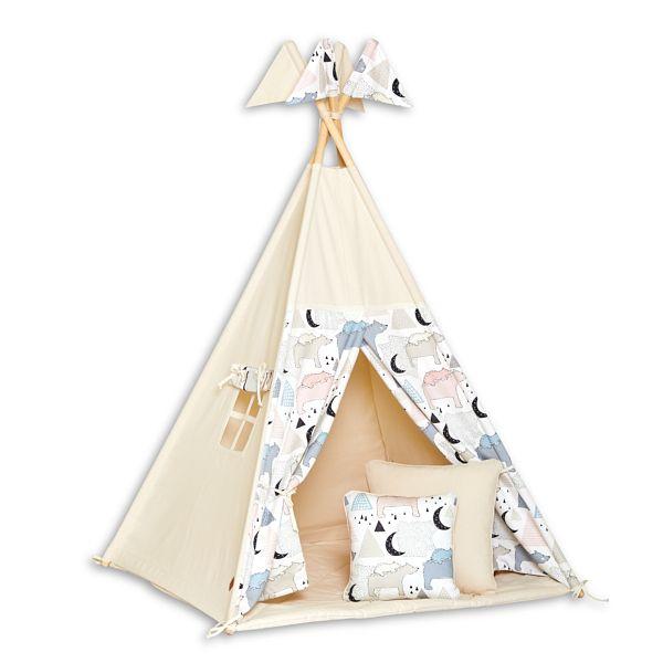 Tente Tipi + Tapis + Coussins - Bear Family