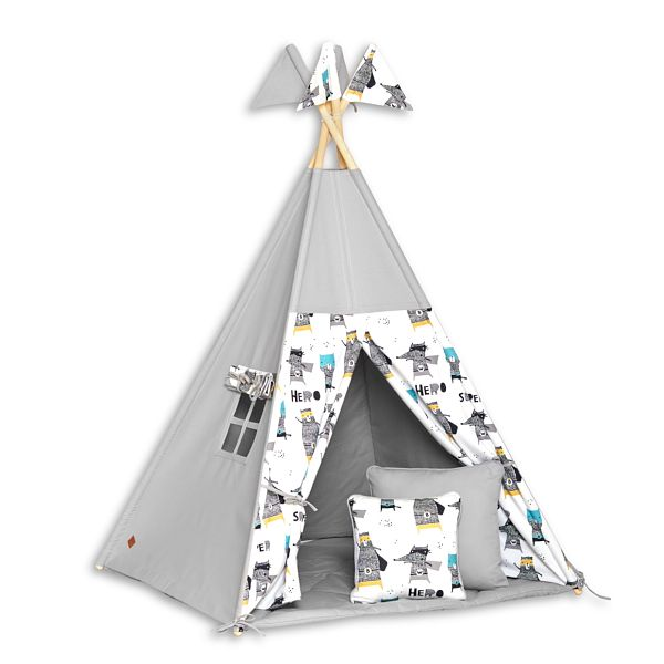 Tente de Tipi + Tapis + Coussins - Super Hero