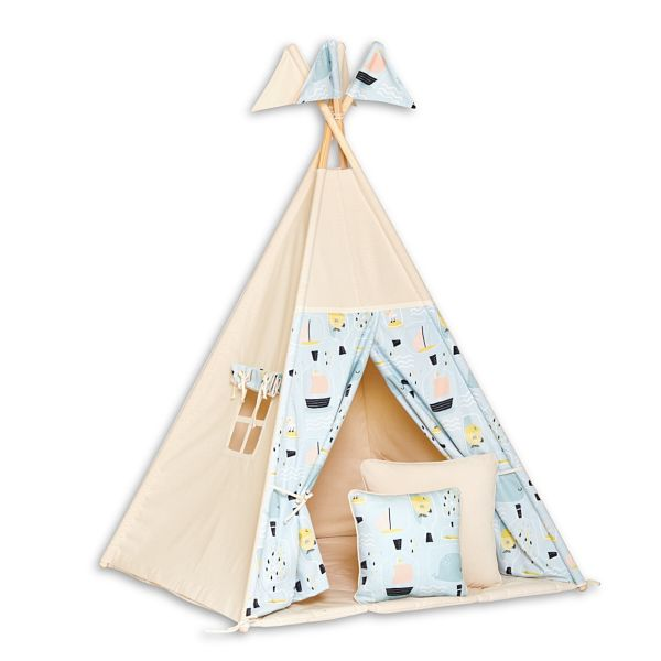 Teepee Tent + Floor Mat + Pillows - Fish in Jar