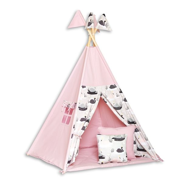 Teepee Tent + Floor Mat + Pillows - Swan Princess