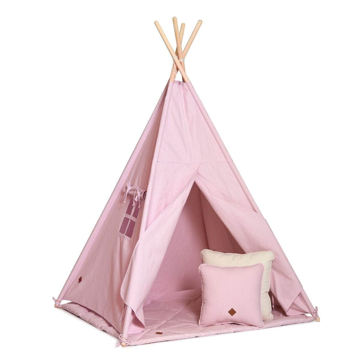 Teepee Tent + Floor Mat + Pillows - Powder Pink