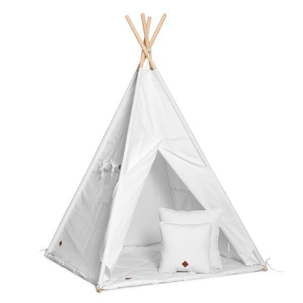 Teepee Tent + Floor Mat + Pillows - White