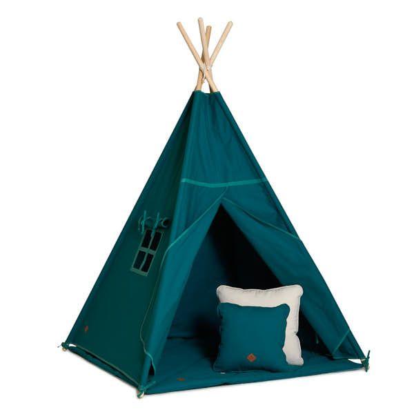 Teepee Tent + Floor Mat + Pillows - Emerald