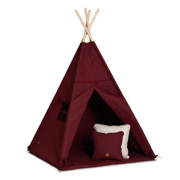 Teepee Tent + Floor Mat + Pillows - Maroon