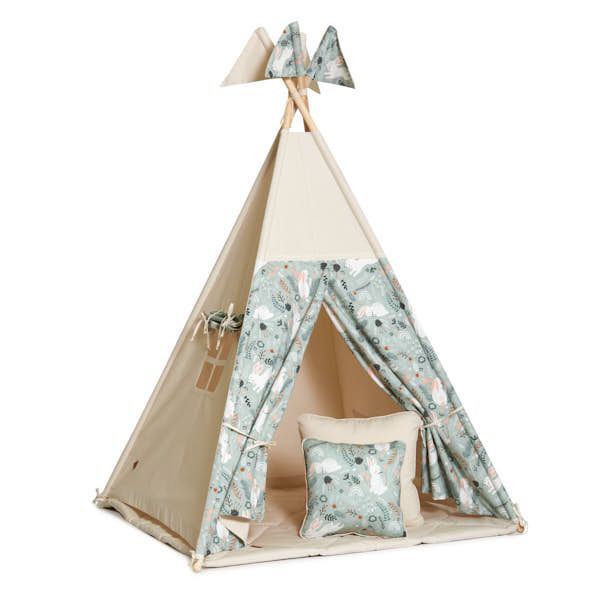 Teepee Tent + Floor Mat + Pillows - Rabbit