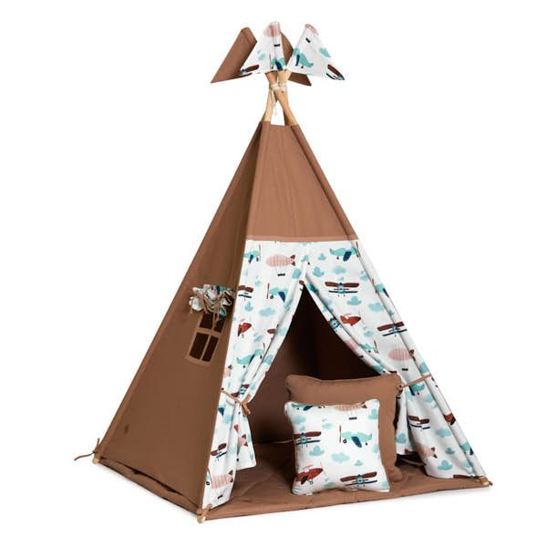 Teepee Tent + Floor Mat + Pillows - Airplane