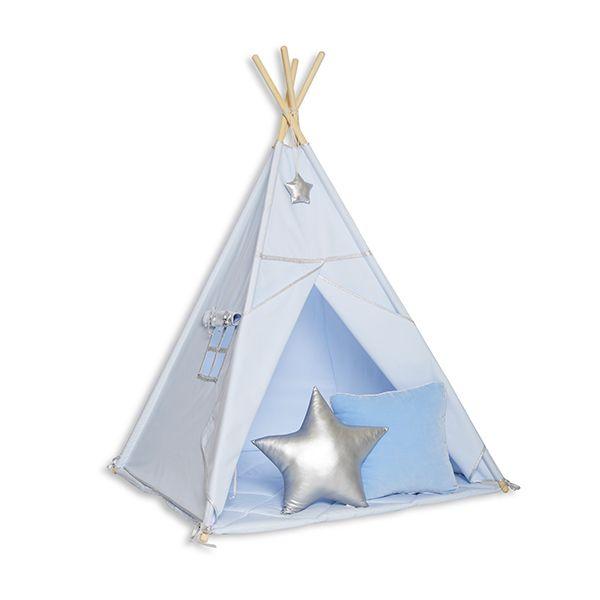 Namiot Tipi + Mata + Poduszki Silver Blue