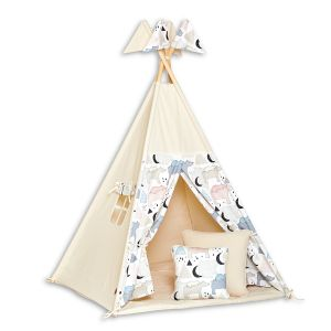 Teepee Tent + Floor Mat + Pillows - Bear Family