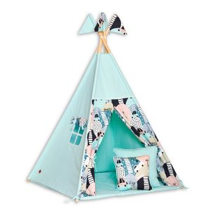 Teepee Tent + Floor Mat + Pillows - Cartoon Cars