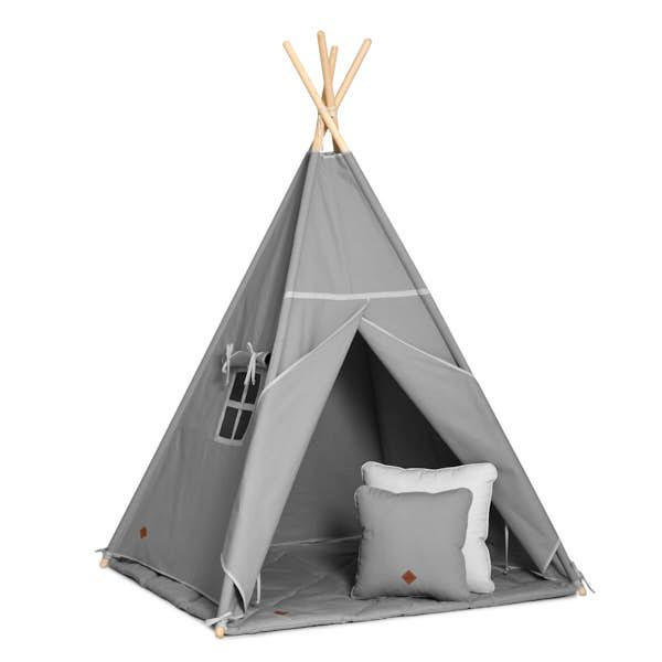 Teepee Tent + Floor Mat + Pillows - Grey