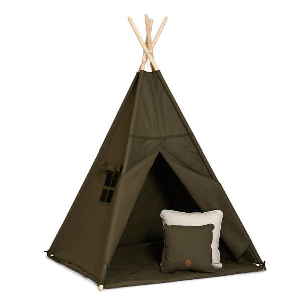 Teepee Tent + Floor Mat + Pillows - Khaki