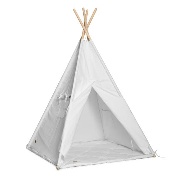 Teepee Tent + Floor Mat - White