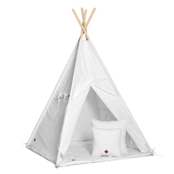 Teepee Tent + Floor Mat + Pillows - White