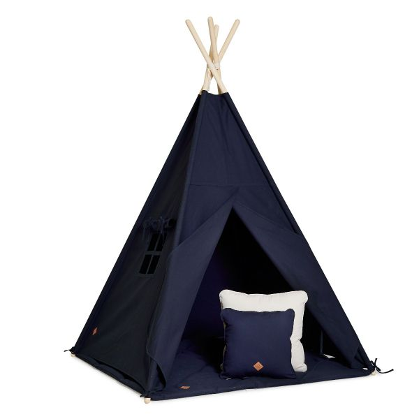 Teepee Tent + Floor Mat + Pillows - Navy Blue