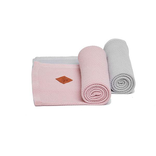 Kocyk Bambusowy Dwupak - Grey/Pink