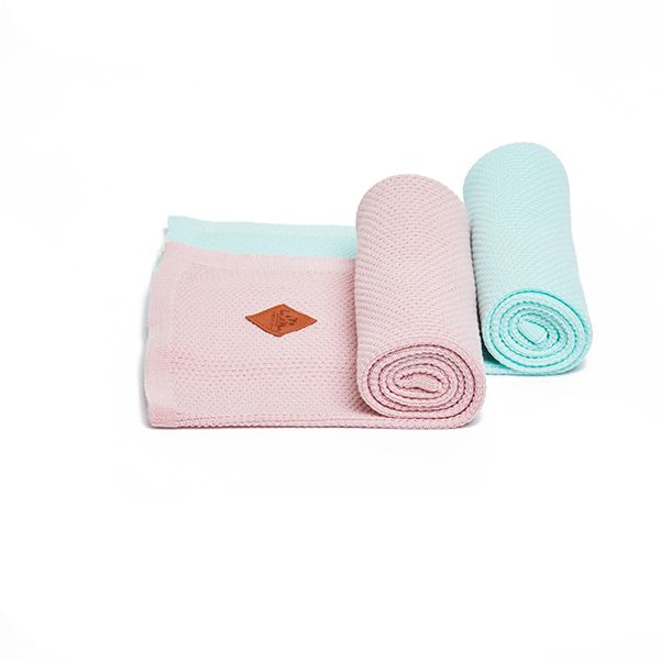 Kocyk Bambusowy Dwupak - Mint/Pink