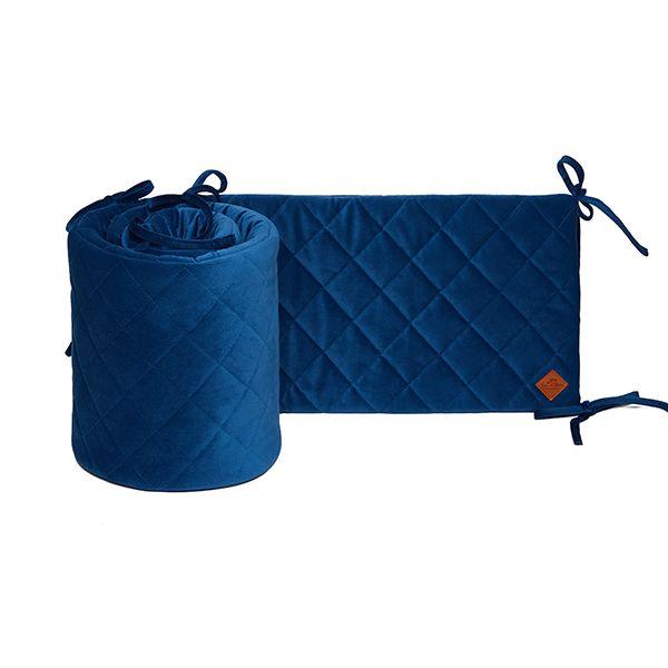 Baby Bed Bumper 70x140 - Velvet - Navy Blue
