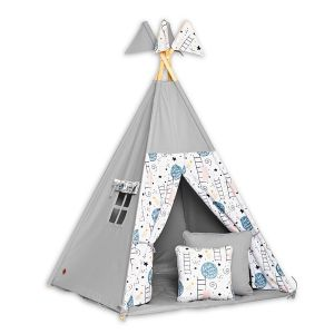Teepee Tent + Floor Mat + Pillows - Love to the Moon