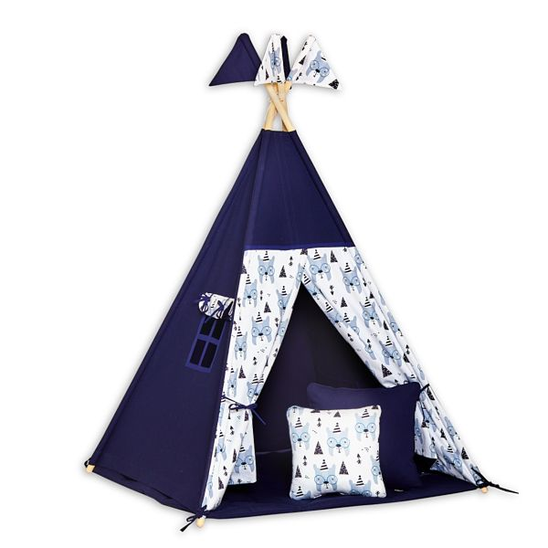 Teepee Tent + Floor Mat + Pillows - Bear Face