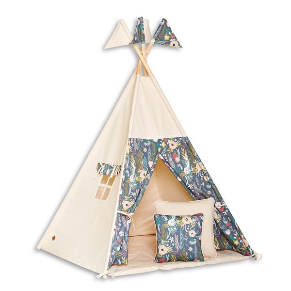 Teepee Tent + Floor Mat + Pillows - Floral Blooming