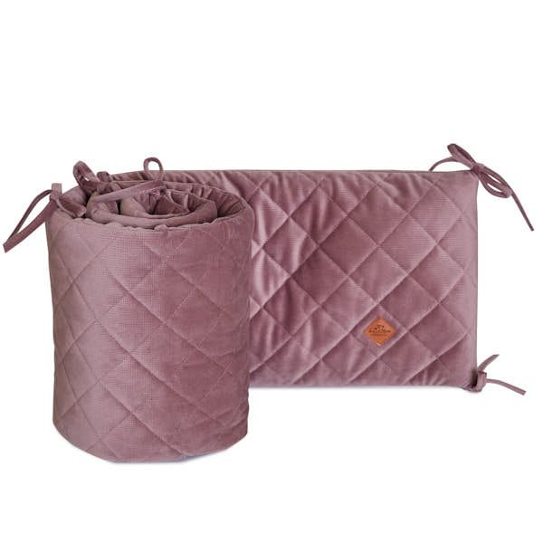 Baby Bed Bumper 70x140 - Velvet - Powder Pink