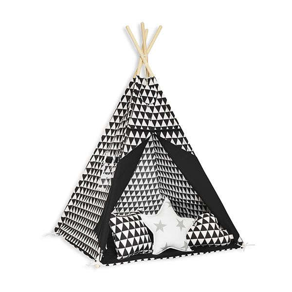 Namiot Tipi + Mata + Poduszki - Black&White
