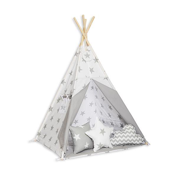 Namiot Tipi + Mata + Poduszki - Bright Grey