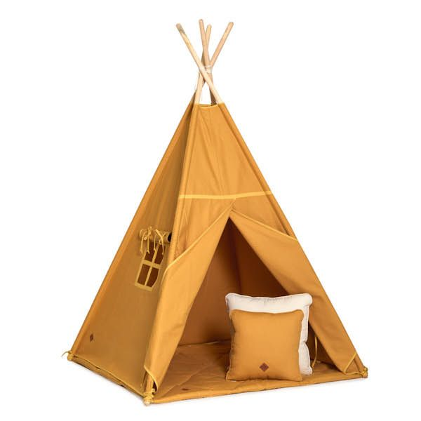 Teepee Tent + Floor Mat + Pillows - Mustard