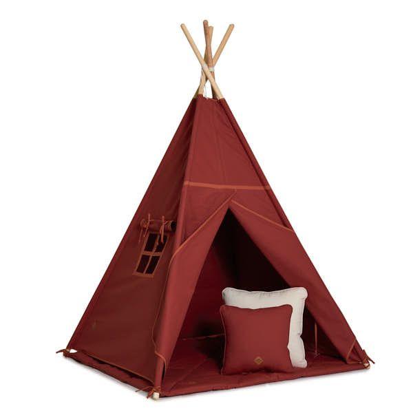 Teepee Tent + Floor Mat + Pillows - Brick Orange