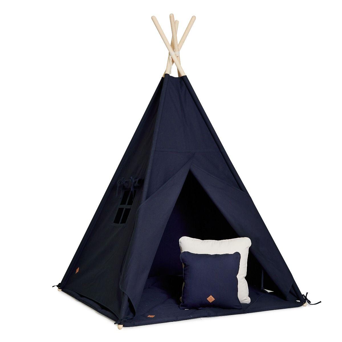 Teepee Tent + Floor Mat + Pillows - Navy Blue