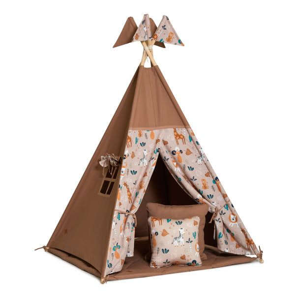 Teepee Tent + Floor Mat + Pillows - Safari