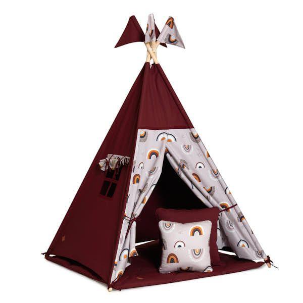 Teepee Tent + Floor Mat + Pillows - Rainbow