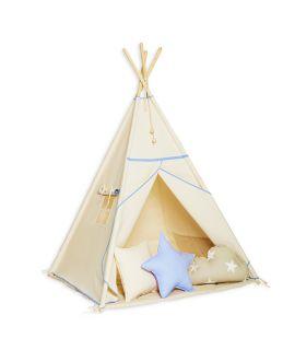 Namiot Tipi + Mata + Poduszki - Natural Blue