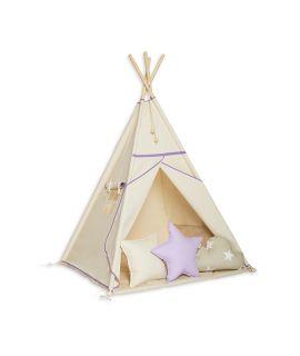Namiot Tipi + Mata + Poduszki Natural Lilac